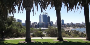 Perth skyline from a park.